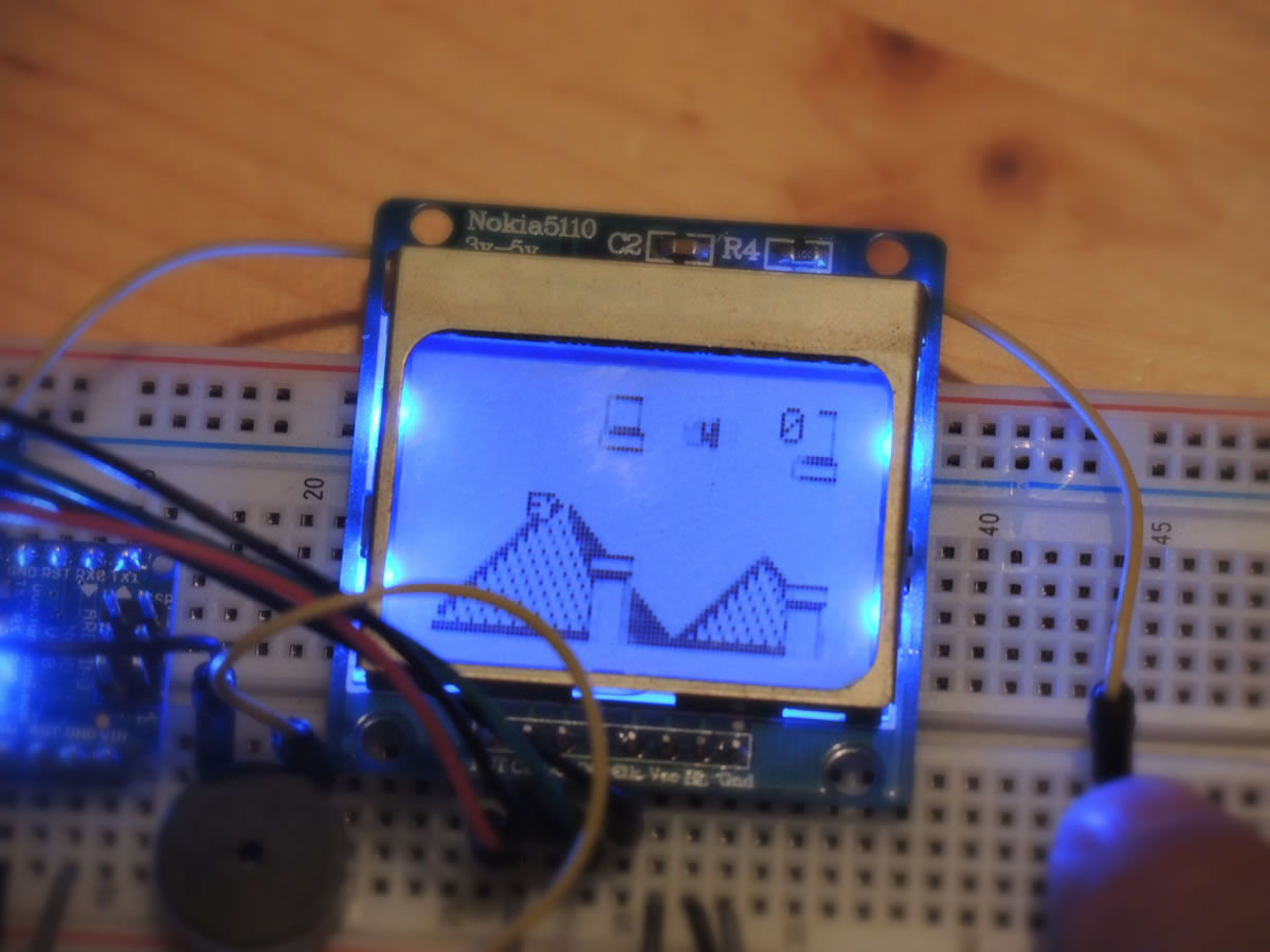 Arduino Flappy Bird Game On Nano Gabe Nix Breadboard Clone Gameplay